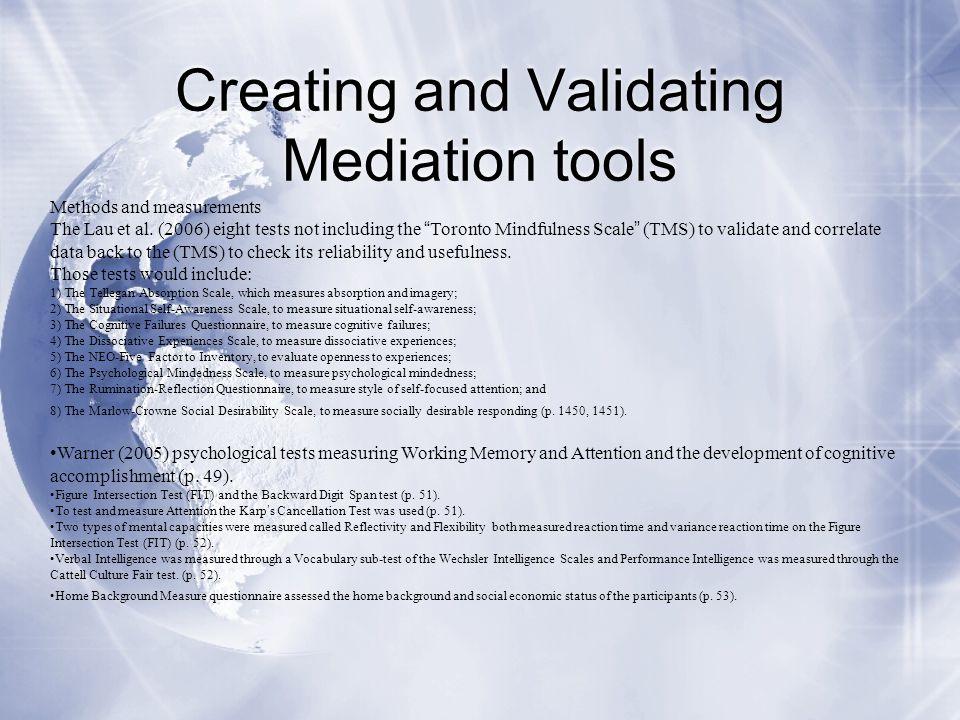 Creating and Validating Mediation tools