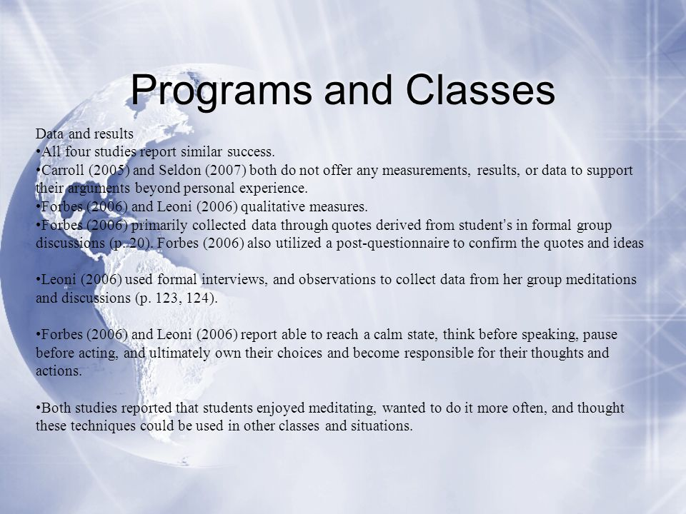Programs and Classes Data and results