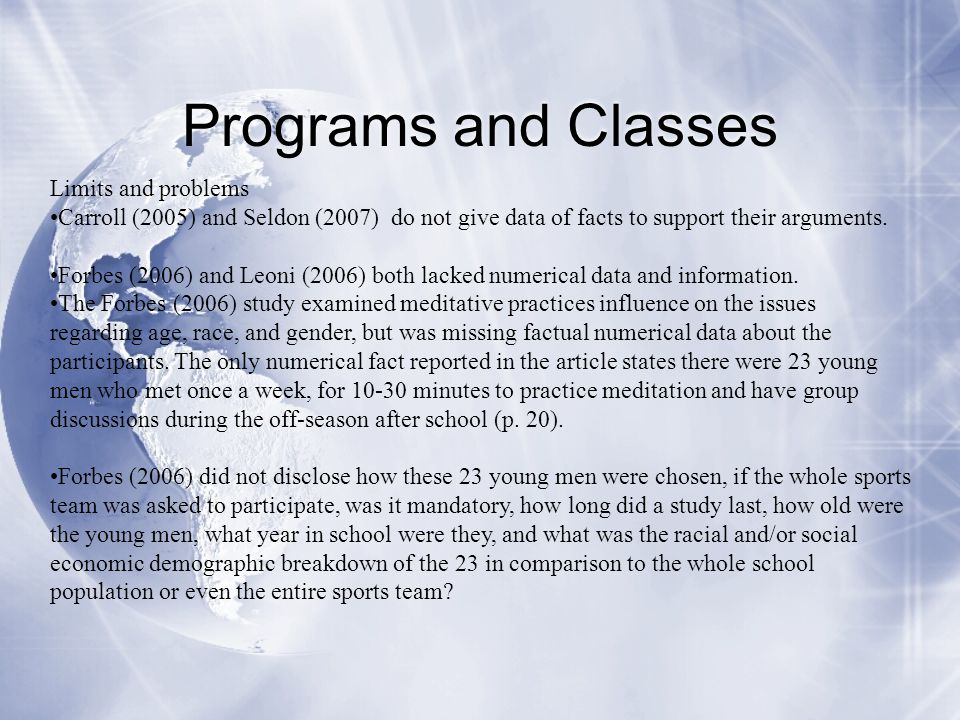 Programs and Classes Limits and problems