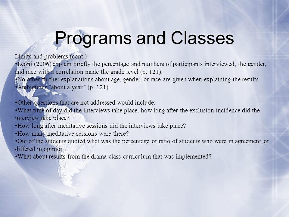 Programs and Classes Limits and problems (cont.)