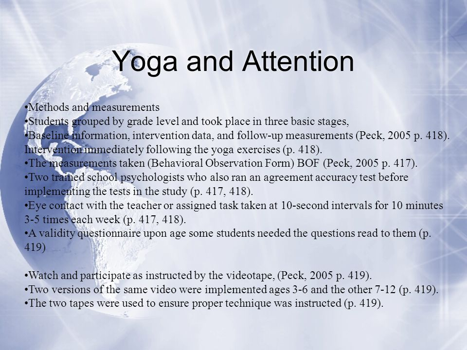 Yoga and Attention Methods and measurements