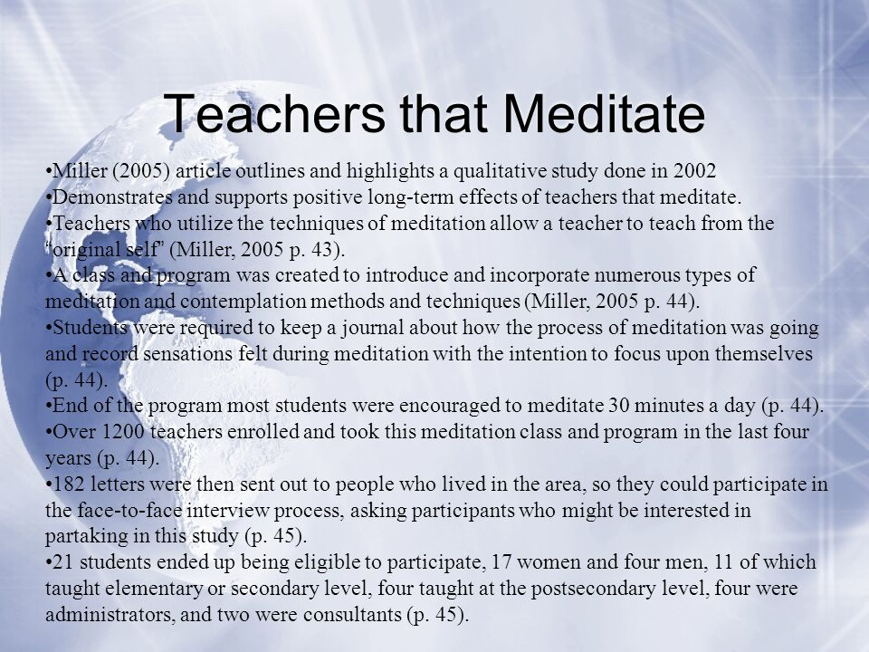 Teachers that Meditate