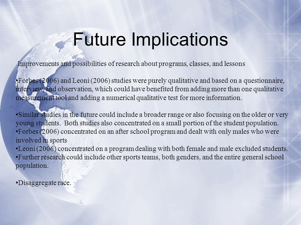 Future Implications Improvements and possibilities of research about programs, classes, and lessons.