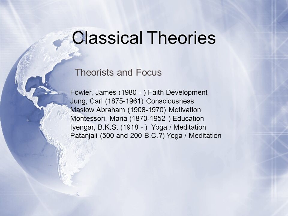Classical Theories Theorists and Focus
