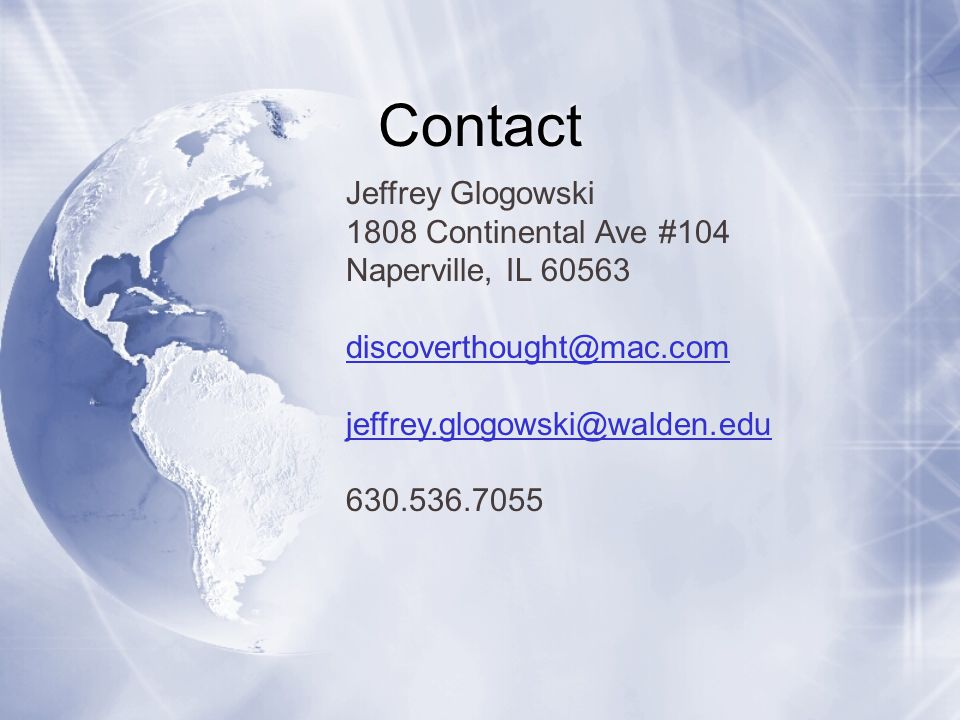 Contact Jeffrey Glogowski 1808 Continental Ave #104