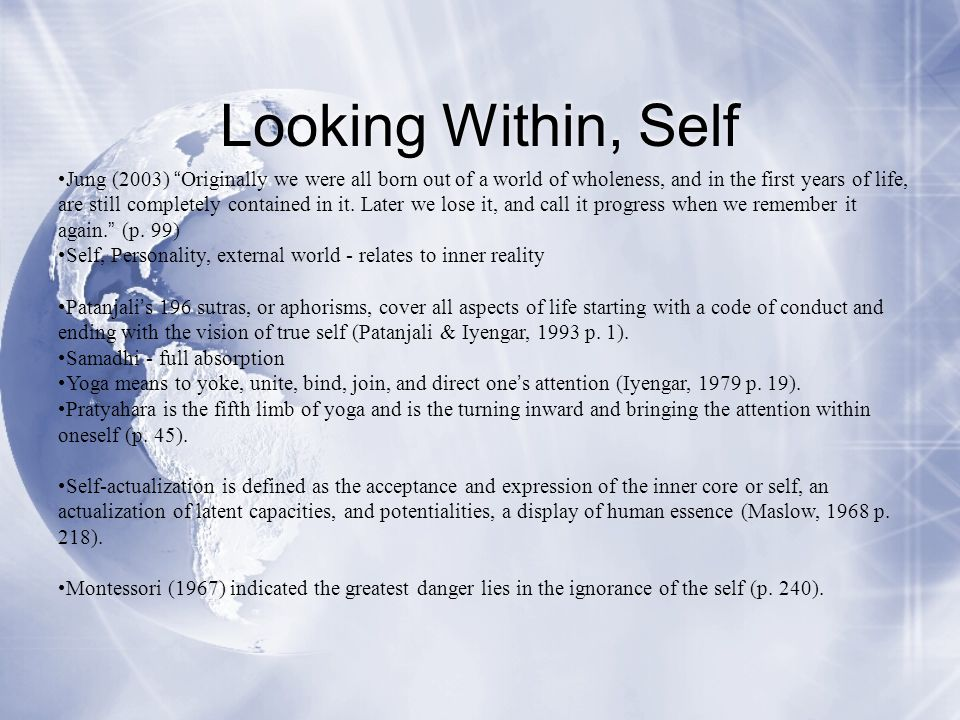Looking Within, Self