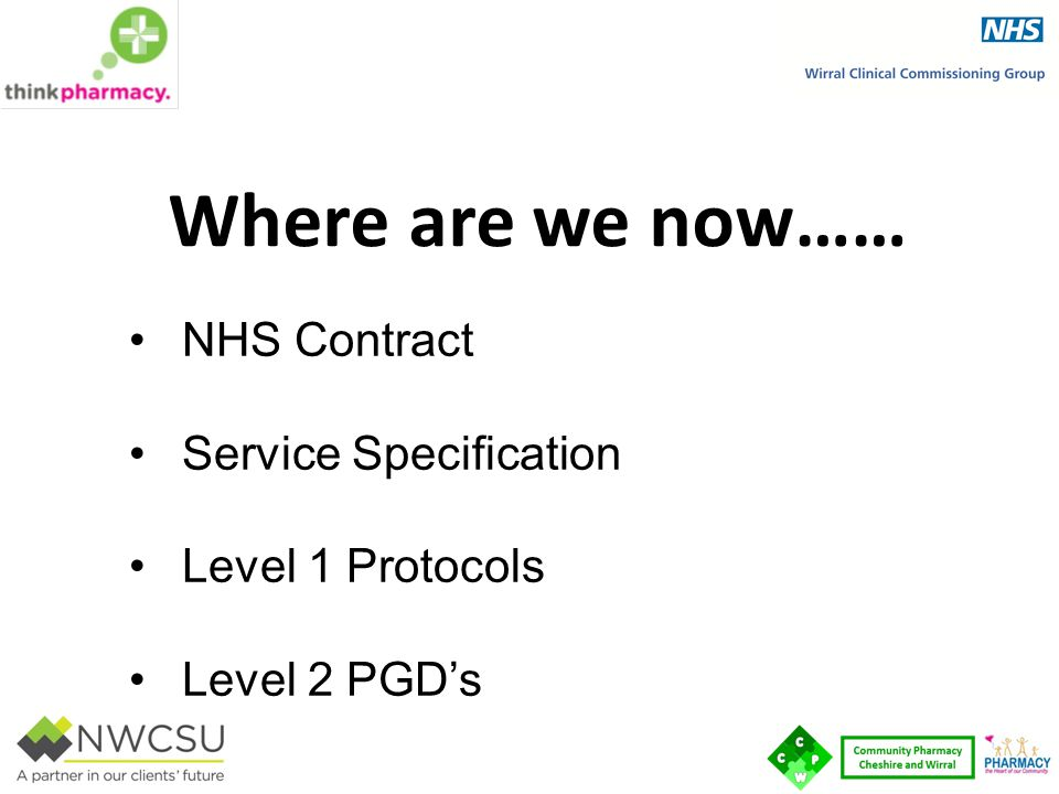 Where are we now…… NHS Contract Service Specification