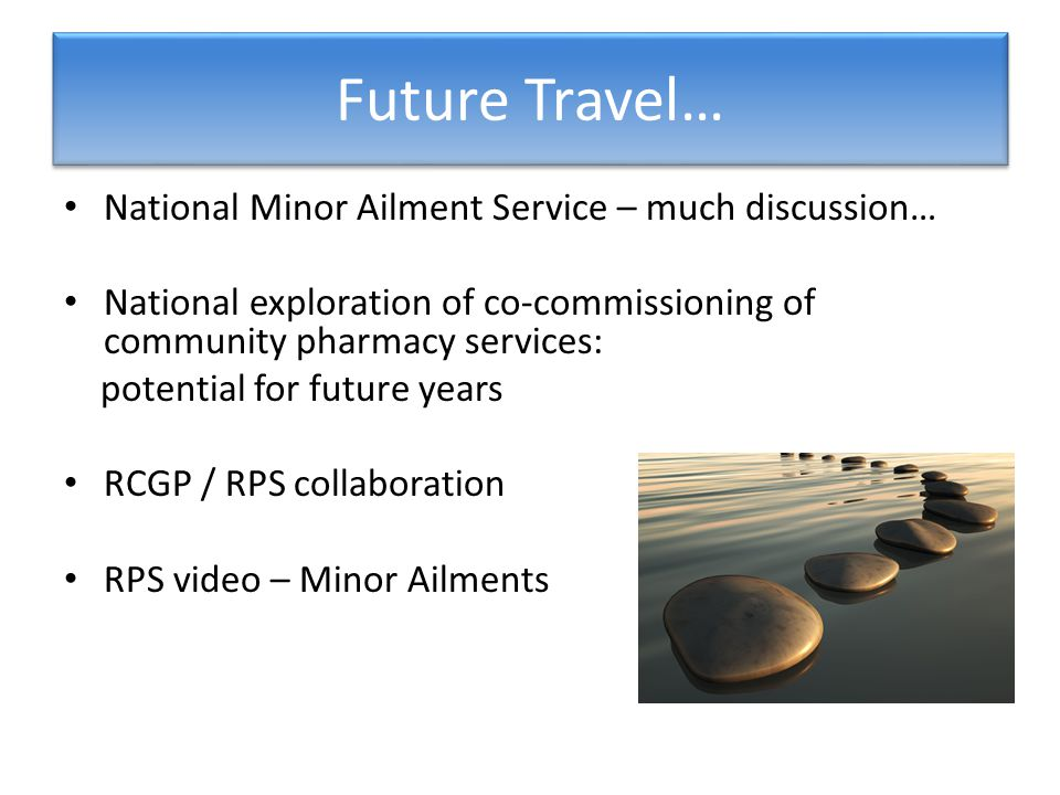 Future Travel… National Minor Ailment Service – much discussion…