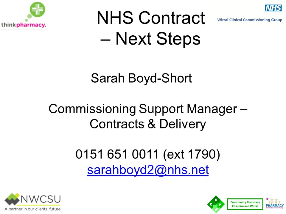 NHS Contract – Next Steps