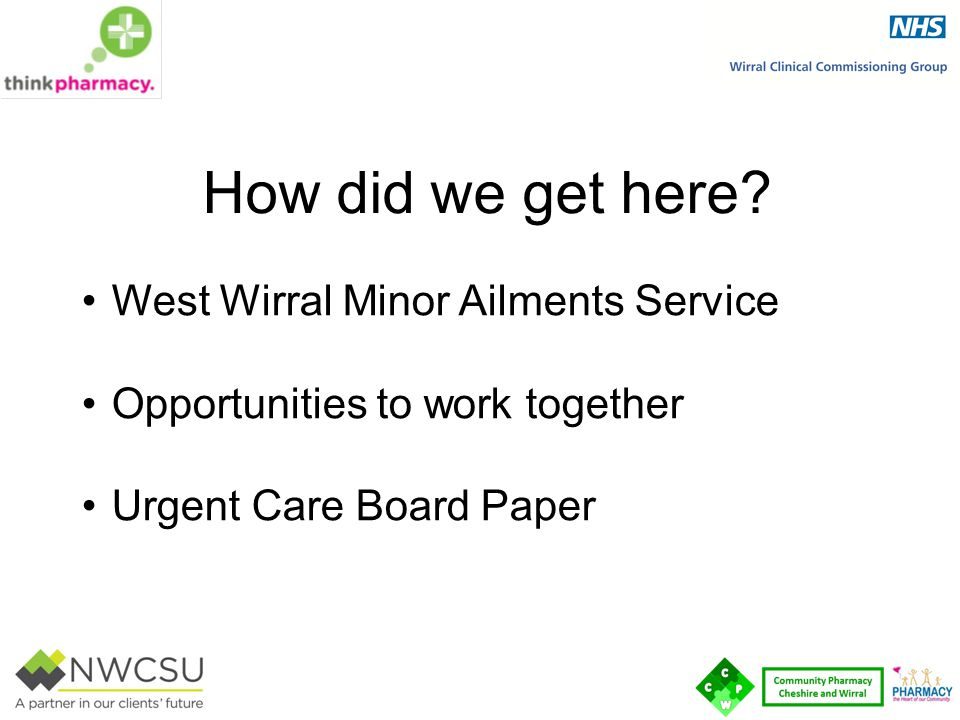 How did we get here West Wirral Minor Ailments Service