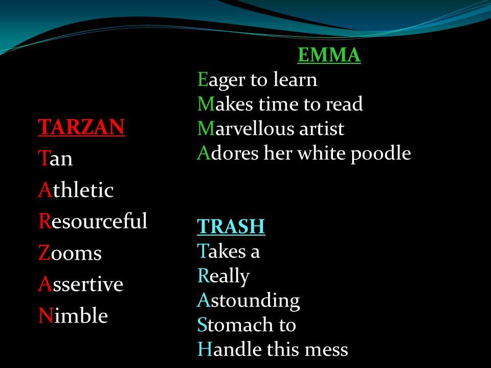 TARZAN Tan Athletic Resourceful Zooms Assertive Nimble