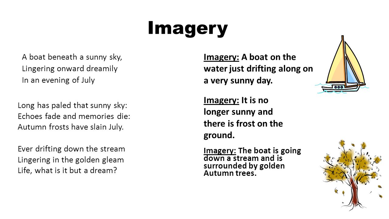 Imagery A boat beneath a sunny sky, Lingering onward dreamily In an evening of July