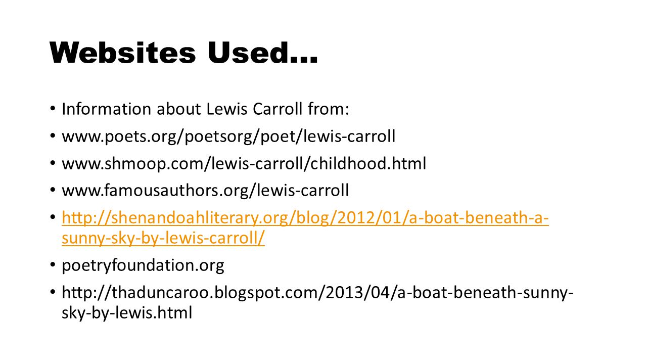 Websites Used… Information about Lewis Carroll from: