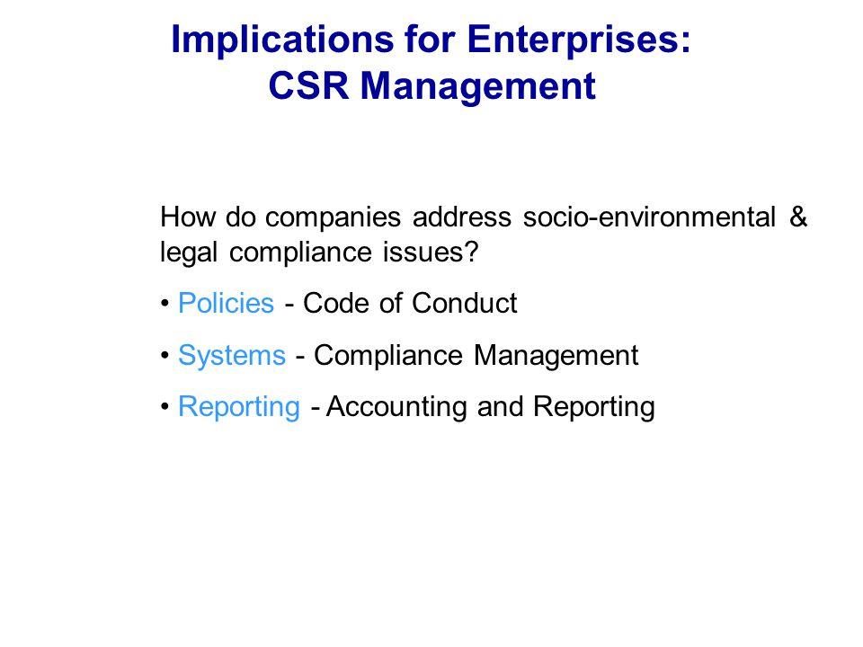 Implications for Enterprises: CSR Management