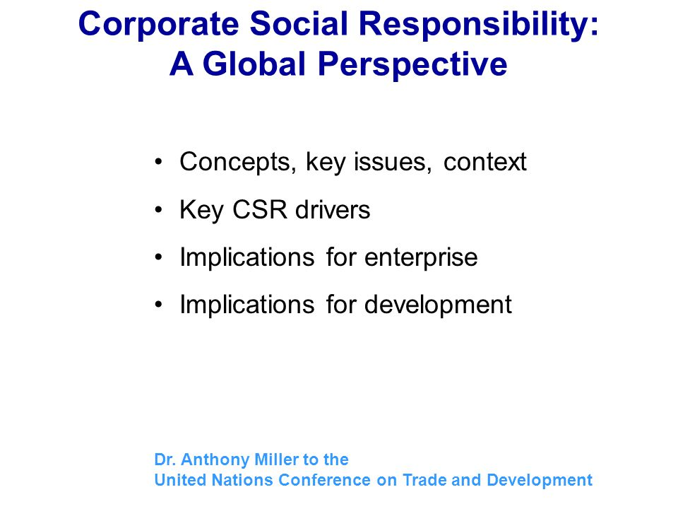 Corporate Social Responsibility: A Global Perspective