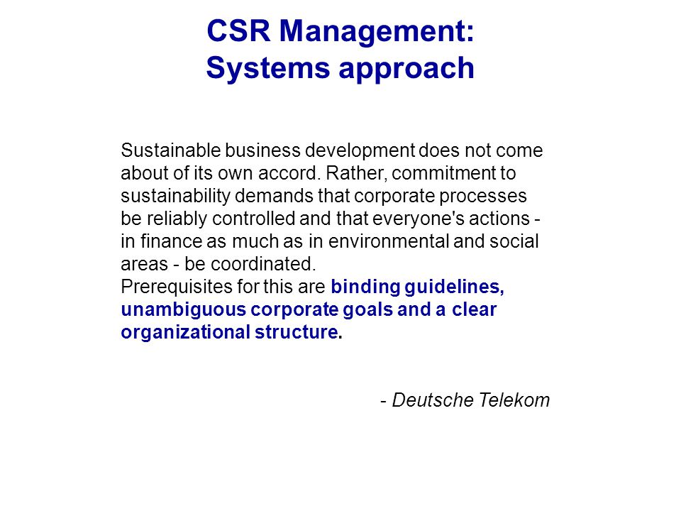 CSR Management: Systems approach