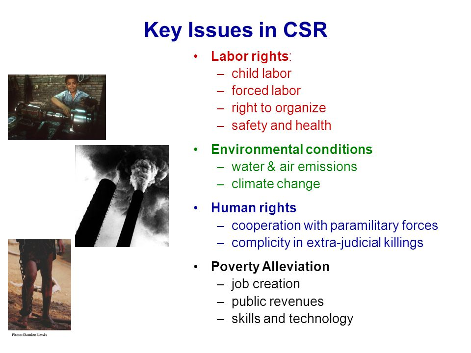 Key Issues in CSR Labor rights: child labor forced labor