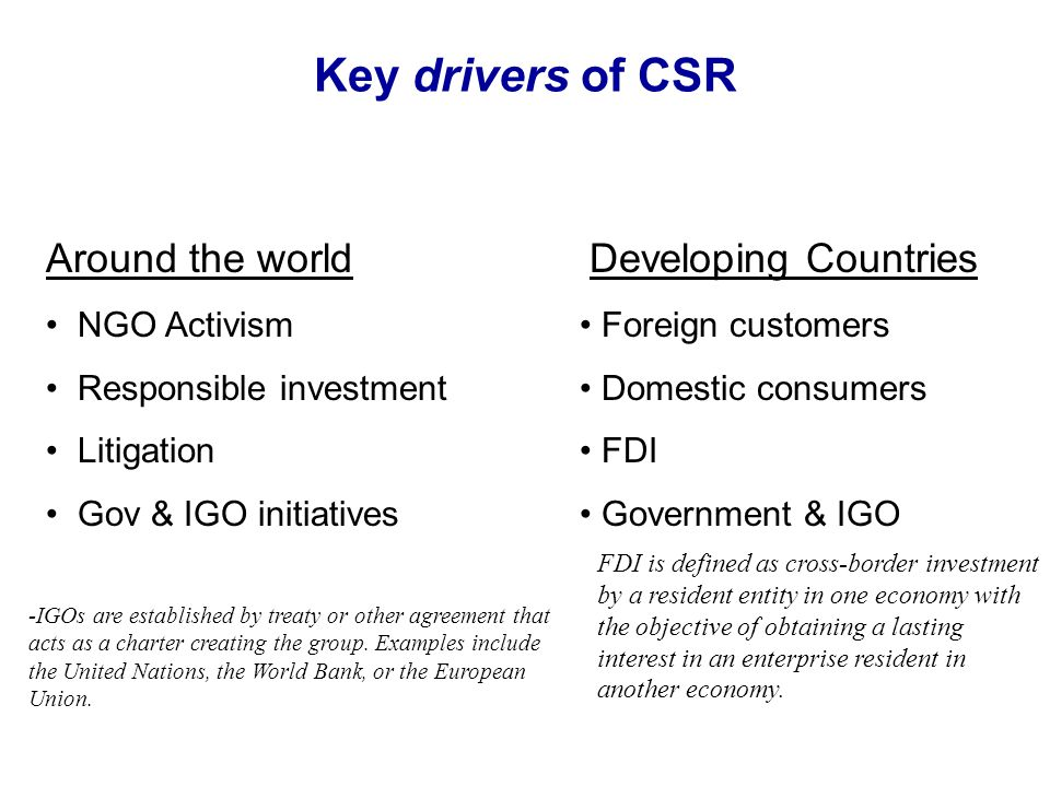 Key drivers of CSR Around the world Developing Countries NGO Activism