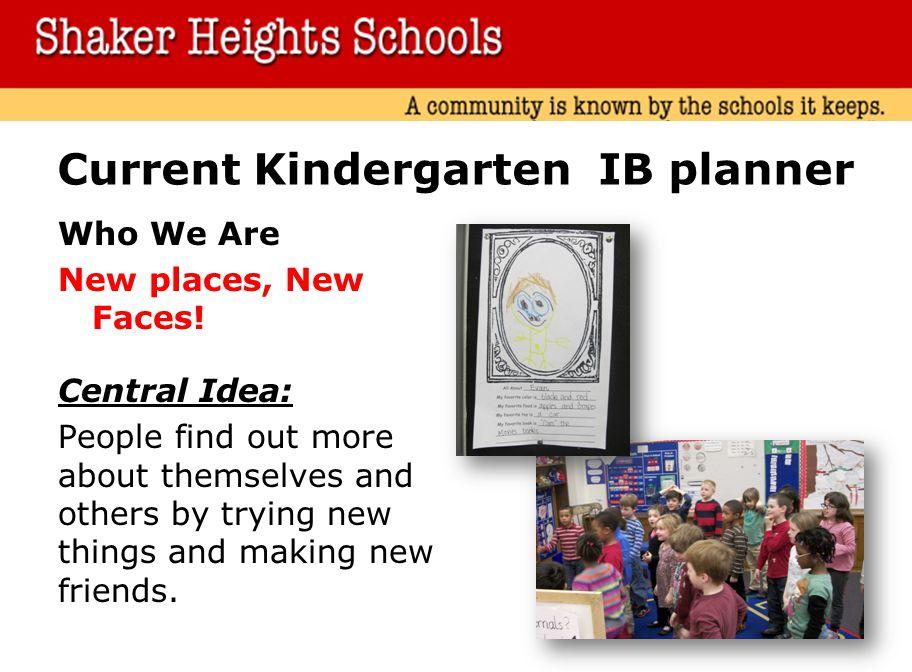 Current Kindergarten IB planner