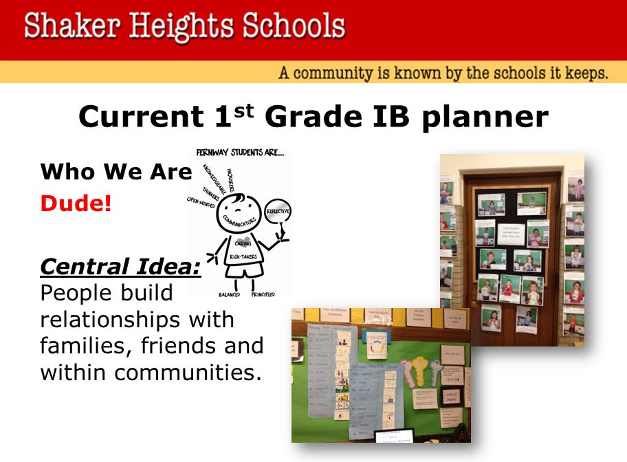 Current 1st Grade IB planner