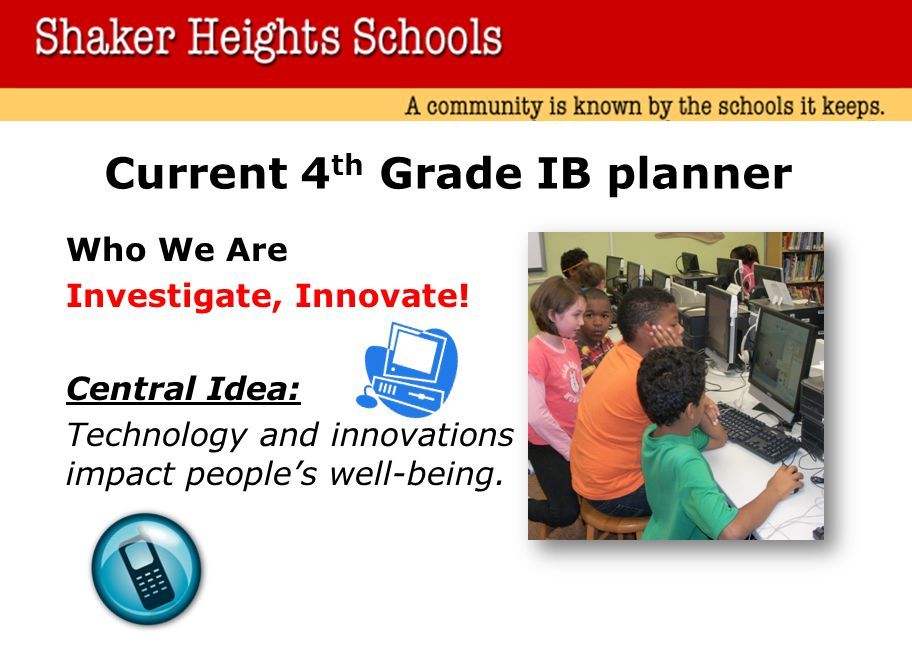 Current 4th Grade IB planner