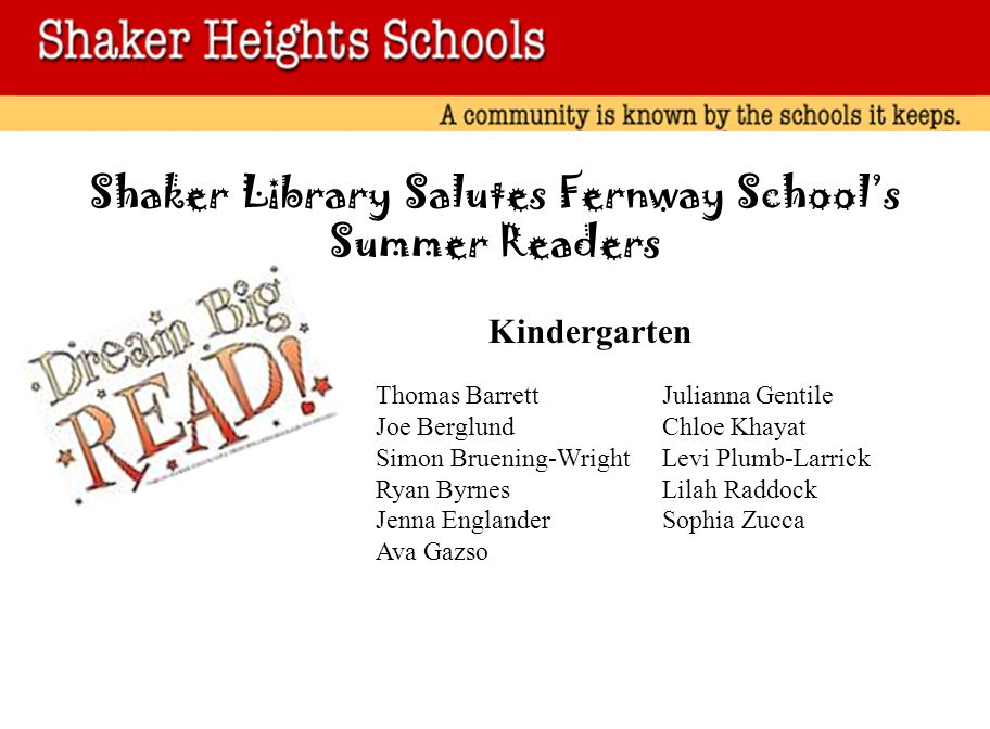 Shaker Library Salutes Fernway School's Summer Readers