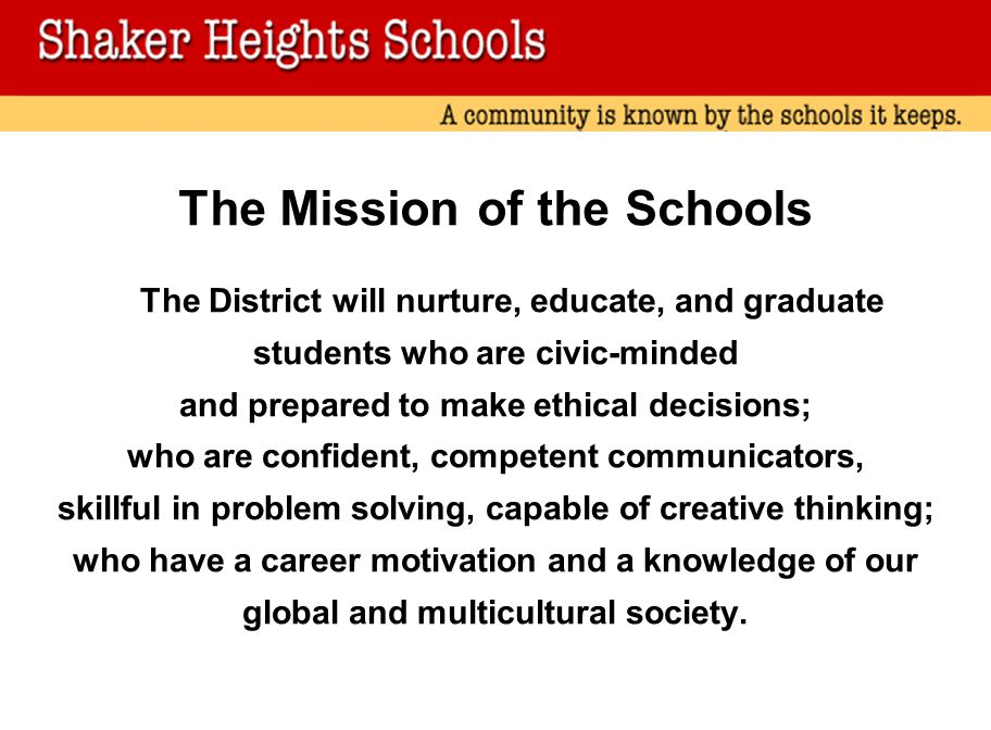 The Mission of the Schools