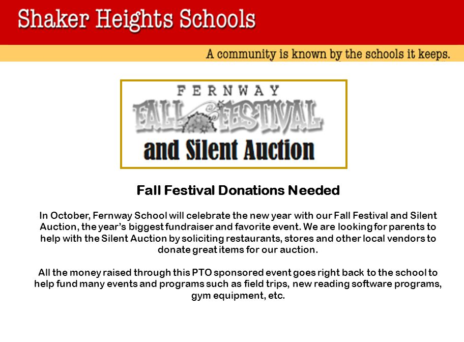 Fall Festival Donations Needed