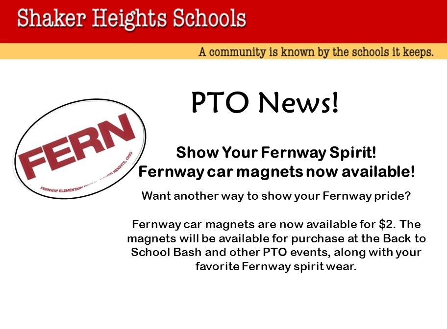 Show Your Fernway Spirit! Fernway car magnets now available!