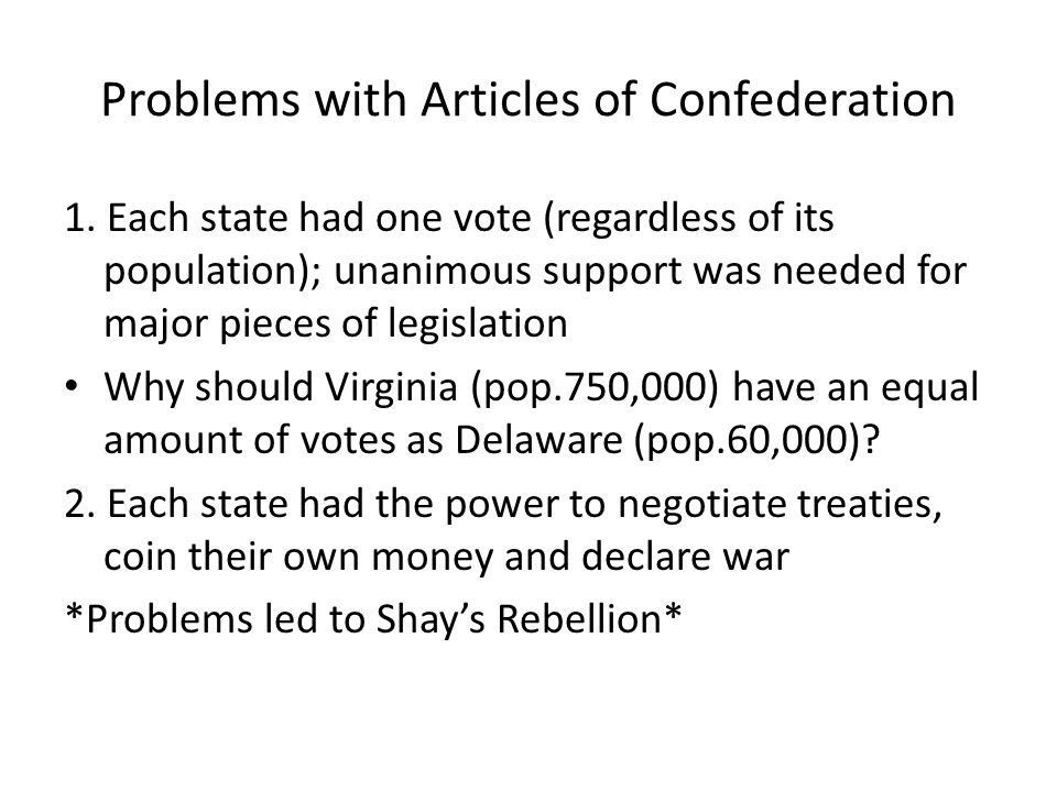 Problems with Articles of Confederation