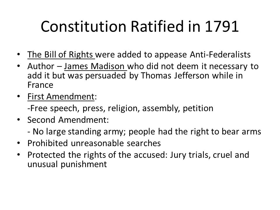 Constitution Ratified in 1791