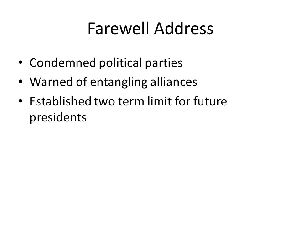 Farewell Address Condemned political parties