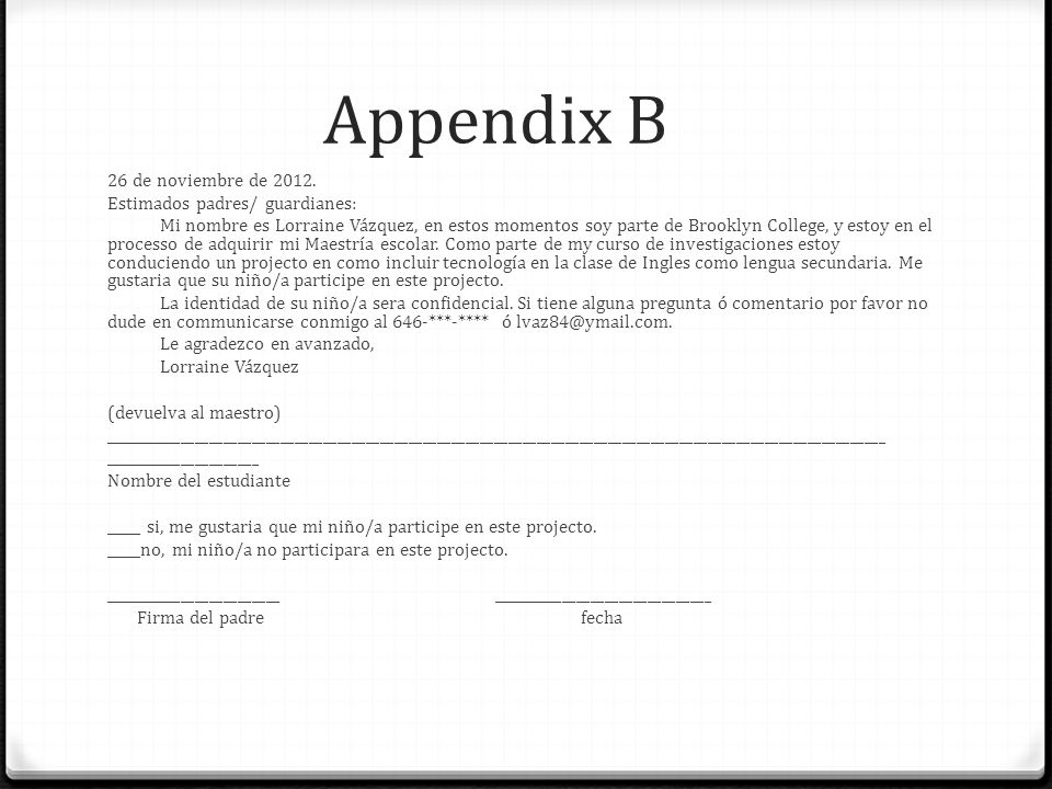 Appendix B 26 de noviembre de 2012. Estimados padres/ guardianes: