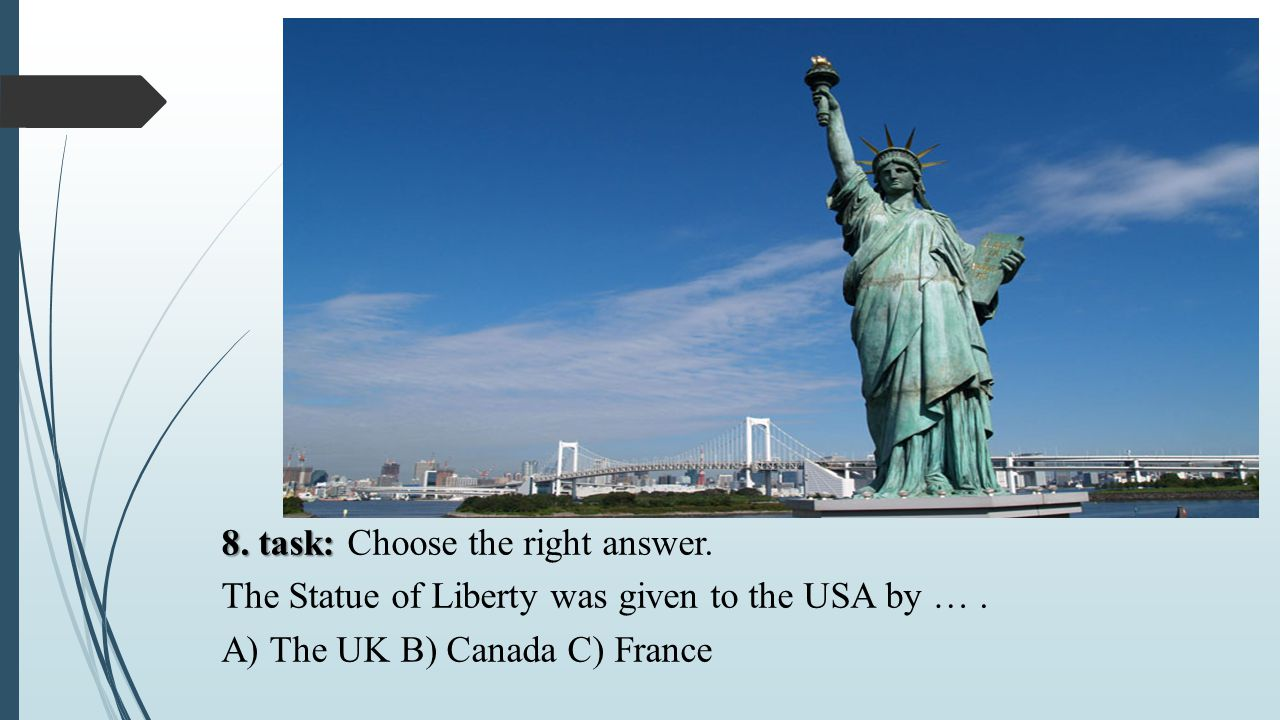8. task: Choose the right answer