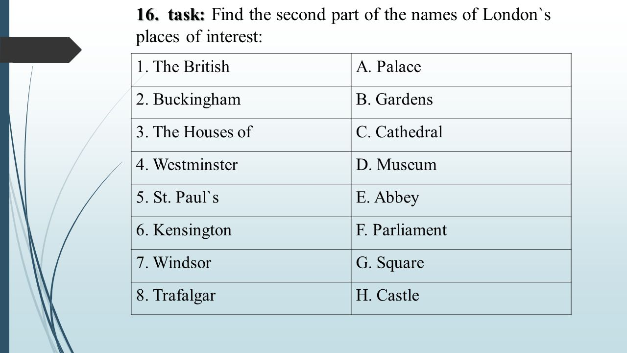 16. task: Find the second part of the names of London`s places of interest: