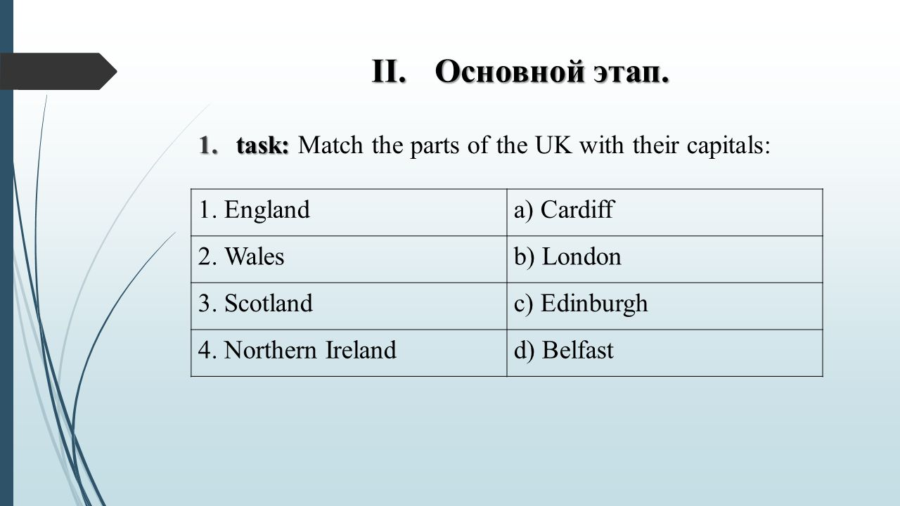Основной этап. task: Match the parts of the UK with their capitals: