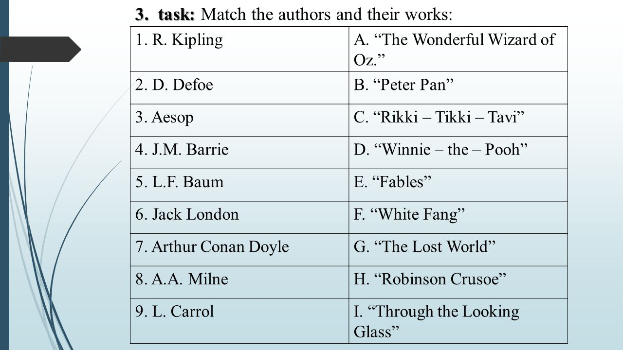 3. task: Match the authors and their works: