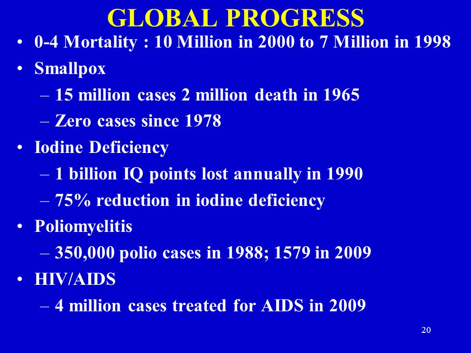 GLOBAL PROGRESS 0-4 Mortality : 10 Million in 2000 to 7 Million in 1998. Smallpox. 15 million cases 2 million death in 1965.