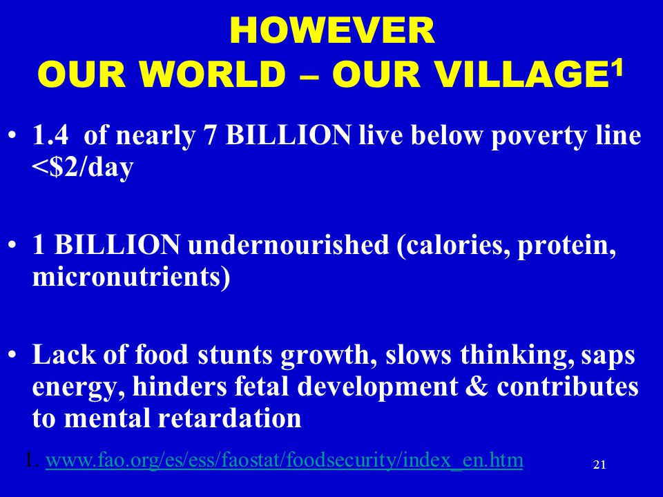 HOWEVER OUR WORLD – OUR VILLAGE1