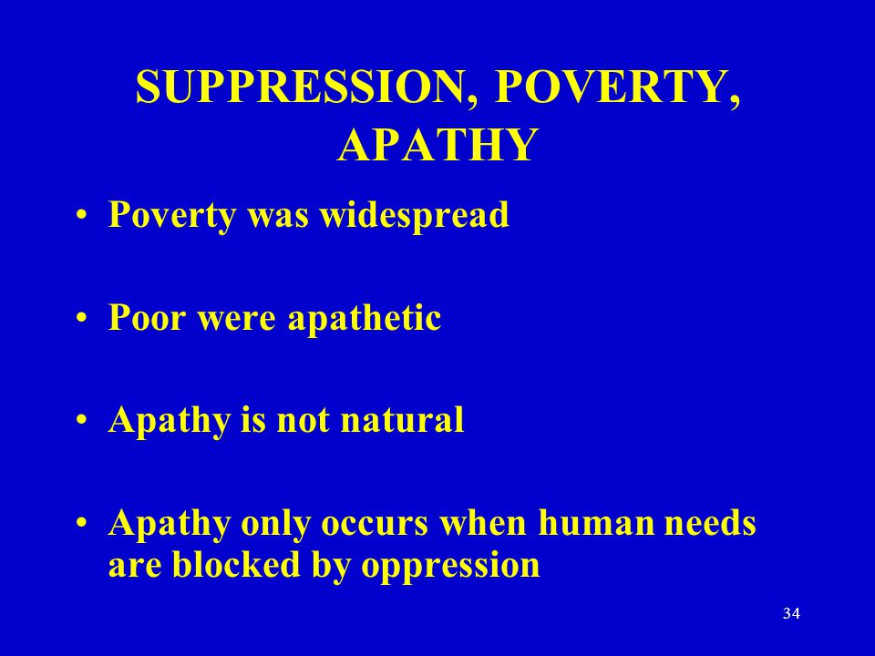 SUPPRESSION, POVERTY, APATHY