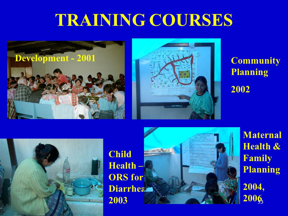 TRAINING COURSES Development - 2001 Community Planning 2002
