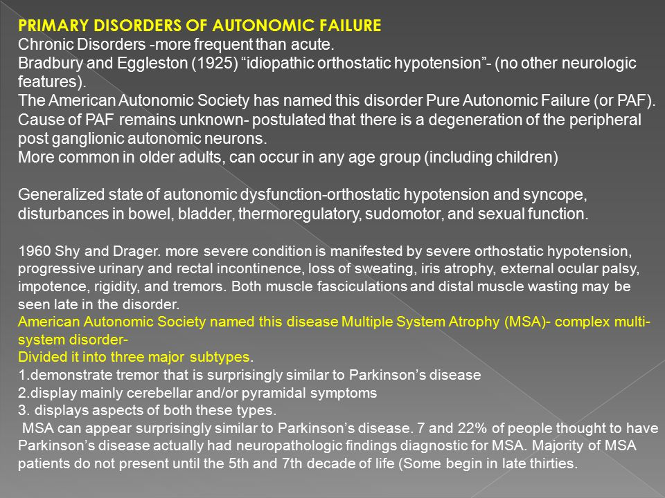Primary Disorders of Autonomic Failure