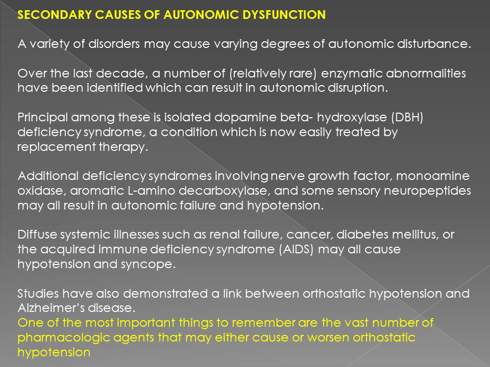 Secondary Causes of Autonomic Dysfunction