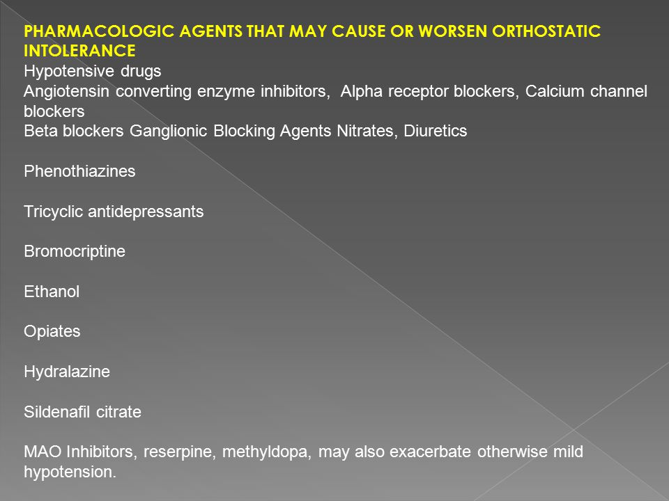 Pharmacologic Agents That May Cause or Worsen Orthostatic Intolerance