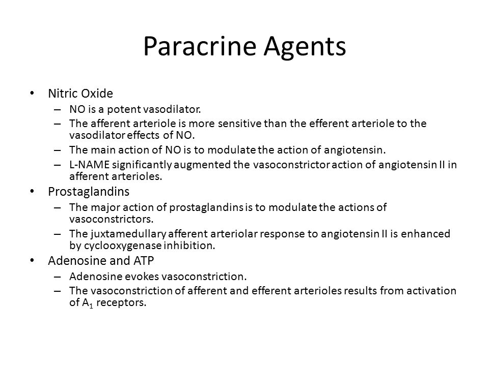 Paracrine Agents Nitric Oxide Prostaglandins Adenosine and ATP