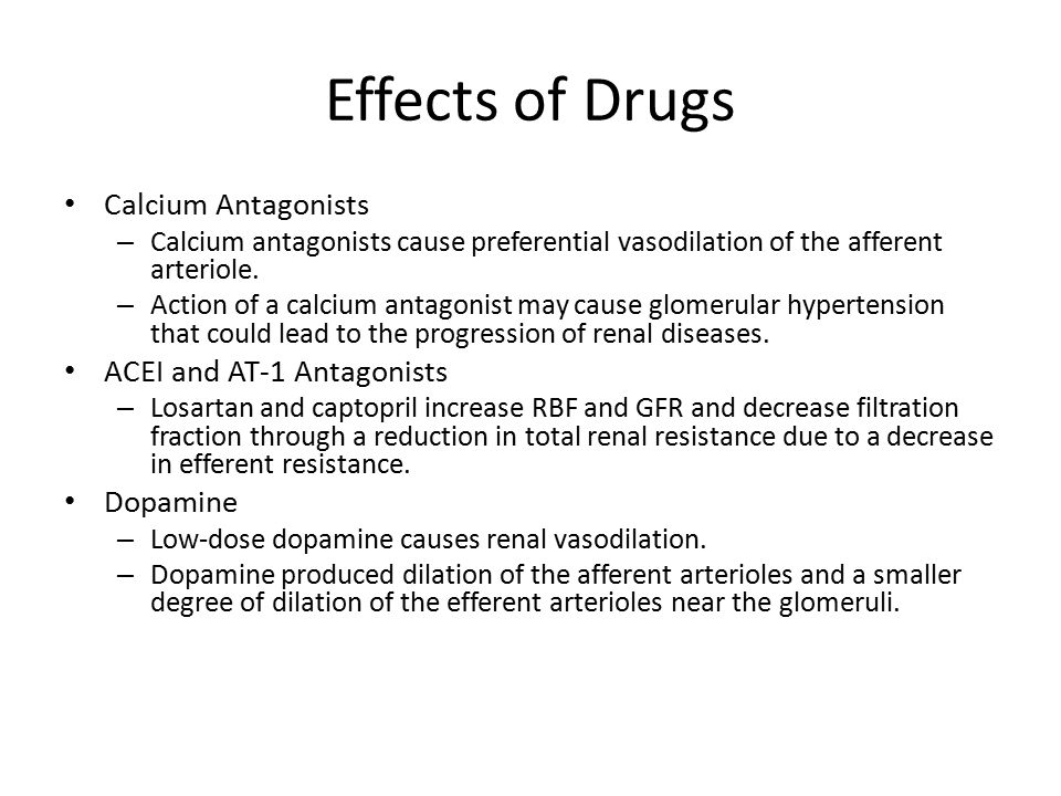 Effects of Drugs Calcium Antagonists ACEI and AT-1 Antagonists