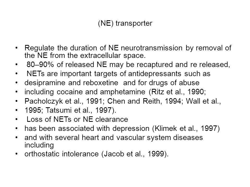 (NE) transporter Regulate the duration of NE neurotransmission by removal of the NE from the extracellular space.