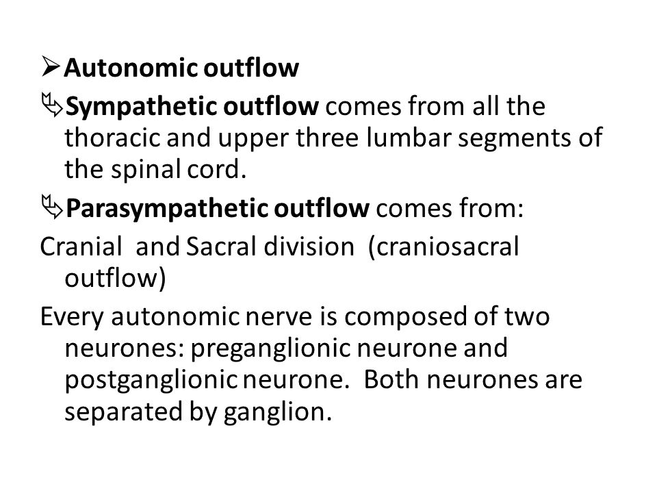 Autonomic outflow Sympathetic outflow comes from all the thoracic and upper three lumbar segments of the spinal cord.