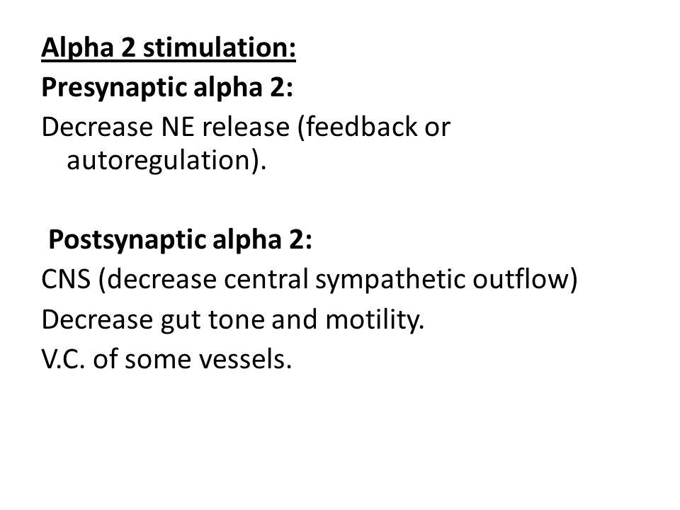 Alpha 2 stimulation: Presynaptic alpha 2: Decrease NE release (feedback or autoregulation). Postsynaptic alpha 2:
