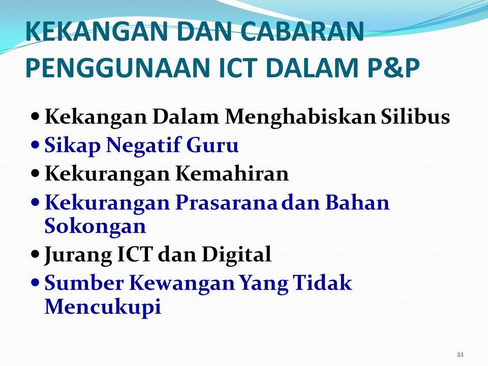 KEKANGAN DAN CABARAN PENGGUNAAN ICT DALAM P&P